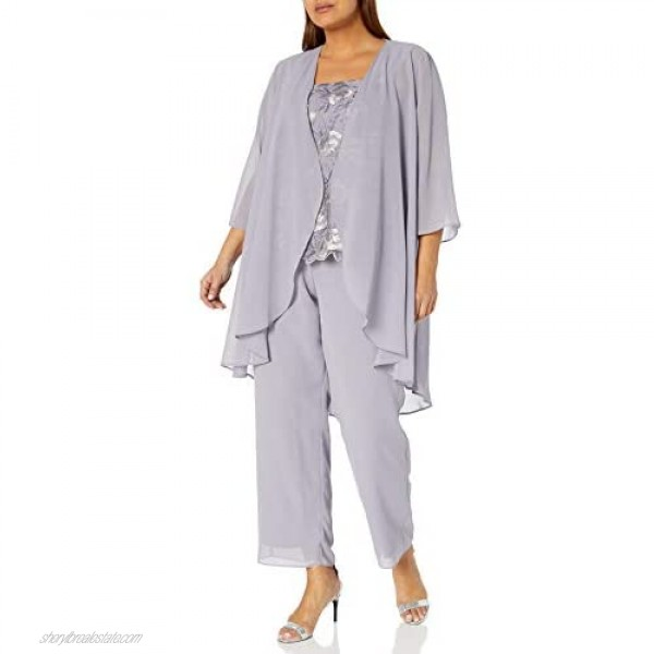 Le Bos Women's Embroidered Lace Scallop Trim Duster Pant Set